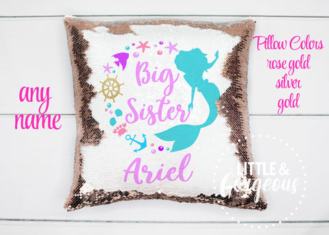 Personalized Big Sister Mermaid Pillow Sequin Pillow Gift for her Girls Mermaid Pillow Girls Room Decor Pillow Form