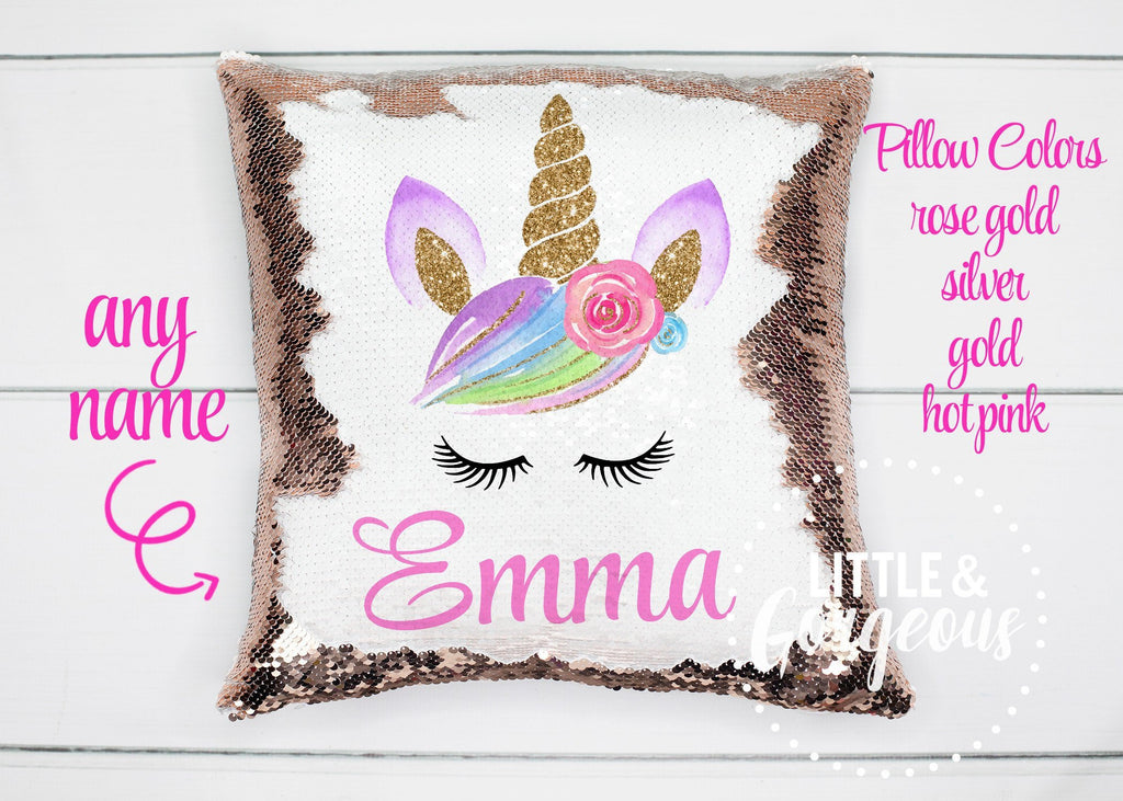 Personalized Unicorn Pillow Sequin Pillow Gift for her Girls Mermaid Pillow Girls Room Decor Unicorn Birthday Pillow Form