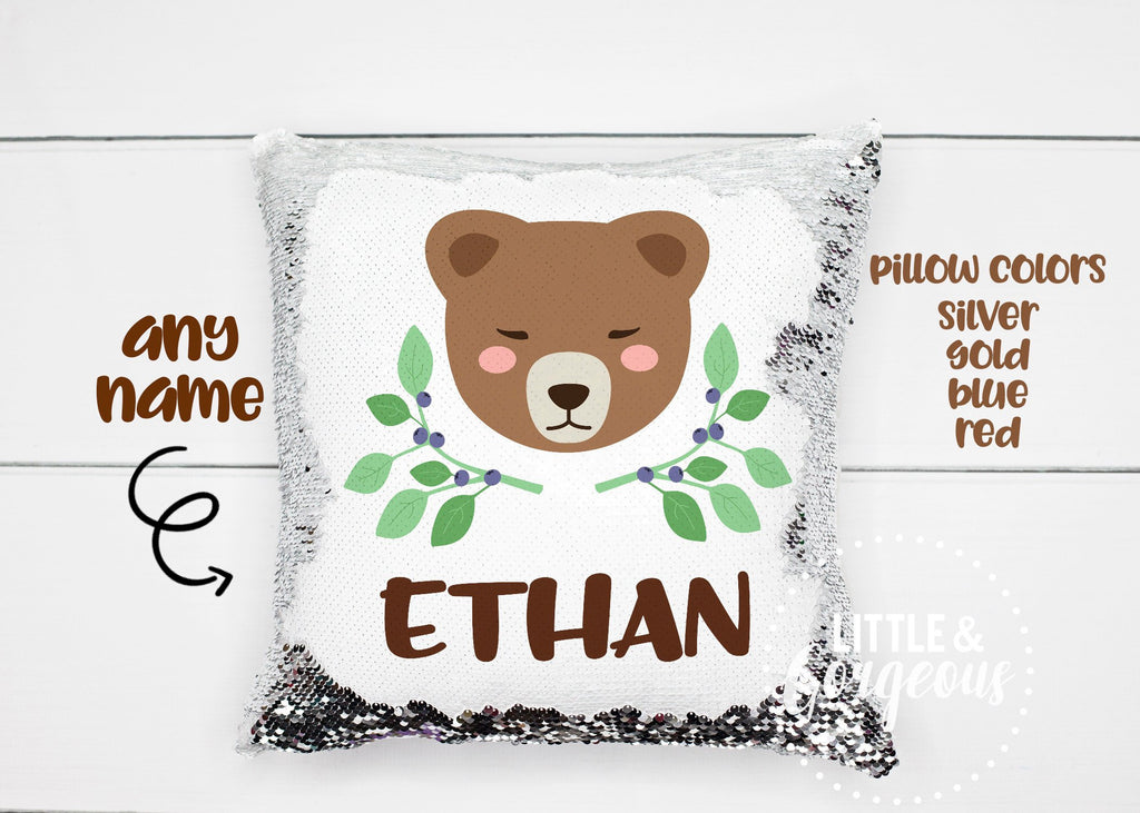 Personalized Sequin Pillow Reversible Sequin Mermaid Pillow Gift for Boy Bear Woodland Mermaid Pillow Boys Room Decor Pillow Form