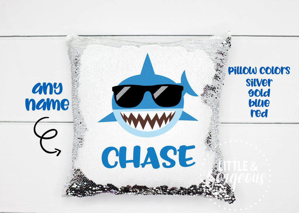 Personalized Sequin Pillow Reversible Sequin Mermaid Pillow Shark Gift for Boy Shark Pillow Boys Room Decor Pillow Form Under the Sea