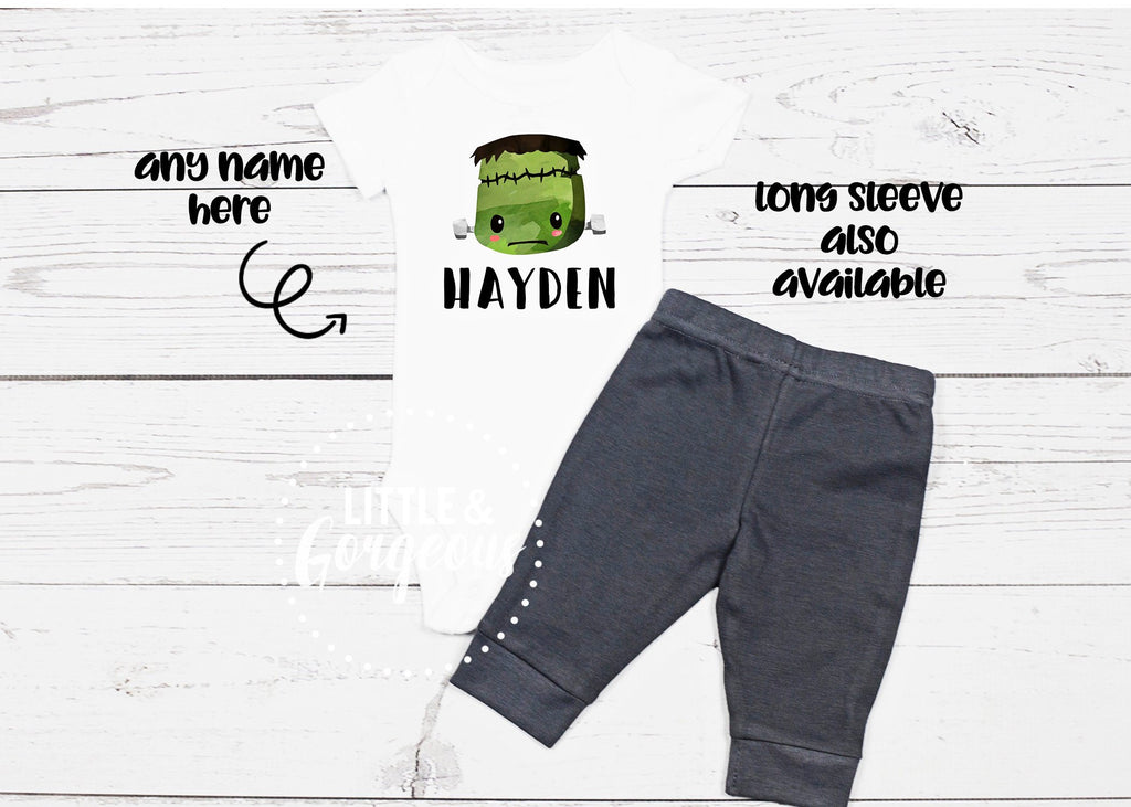 Boys Frankenstein Outfit Boys Halloween Costume Halloween Shirt Frankenstein Onesie Kids Toddler