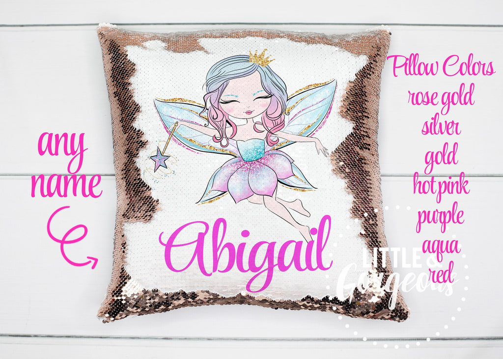 Personalized Sequin Pillow Fairy Mermaid Sequin Pillow Gift for her Mermaid Pillow Girls Unicorn Decor Pillow Personalized Sequin Pillow
