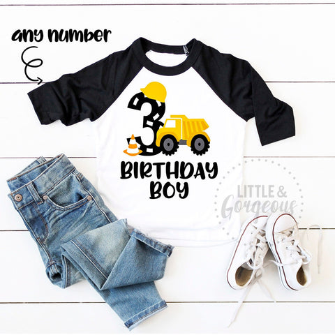 Boys Construction Birthday Construction Shirt Boys Third Second First Birthday Construction Raglan Boys Dump Truck Personalized 3rd Birthday