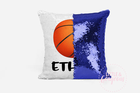 Personalized Sequin Pillow Reversible Sequin Mermaid Pillow Basketball Gift for Boy Sports Pillow Boys Room Decor Pillow Form