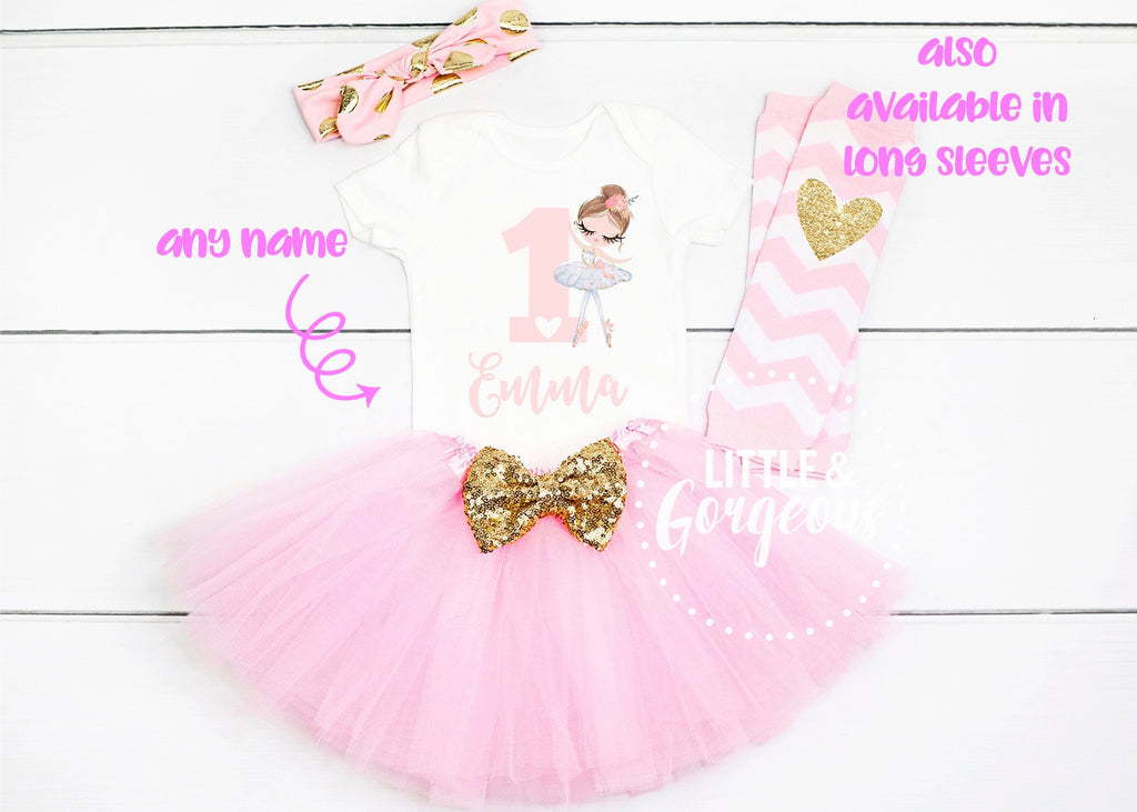 Personalized First Birthday Outfit Girl Ballerina 1st Birthday Girl Outfit Ballet First Birthday Outfit 1st Birthday Girl Cake Smash Outfit
