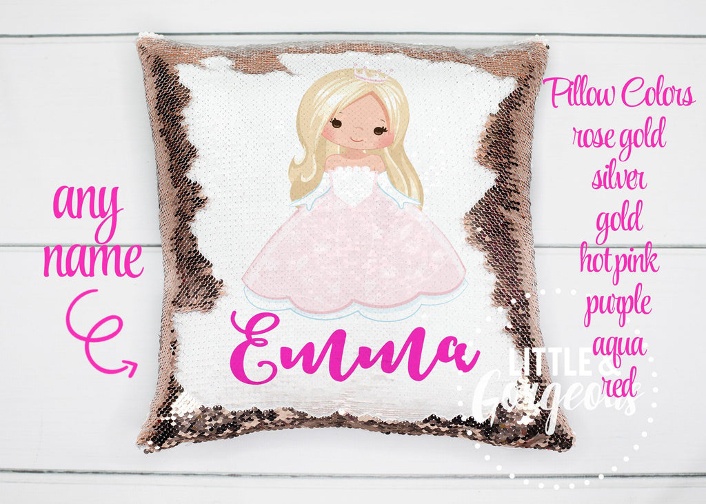 Personalized Sequin Pillow Princess Mermaid Pillow Sequin Pillow Gift for her Girls Mermaid Pillow Girls Room Decor Christmas Sequin Pillow