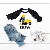 Boys Construction 4th Birthday Construction Shirt Boys Fourth Birthday Construction Raglan Boys Dump Truck Personalized 4th Birthday