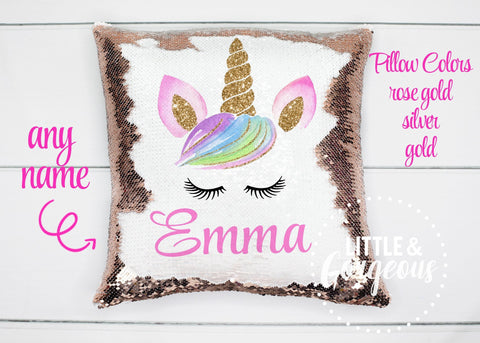 Personalized Unicorn Pillow Unicorn Sequin Pillow Gift for her Girls Mermaid Pillow Girls Room Decor Pillow Personalized Sequin Pillow