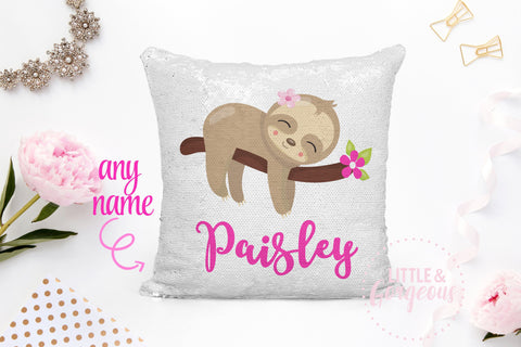 Personalized Sequin Pillow Sequin Mermaid Pillow Sloth Pillow Gift for her Girls Mermaid Pillow Girls Room Decor Pillow Form