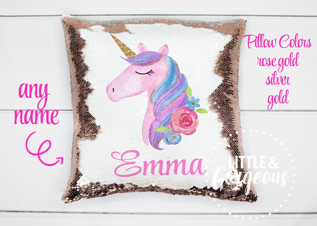 Personalized Unicorn Pillow Sequin Pillow Gift for her Girls Mermaid Pillow Girls Room Decor Pillow Form