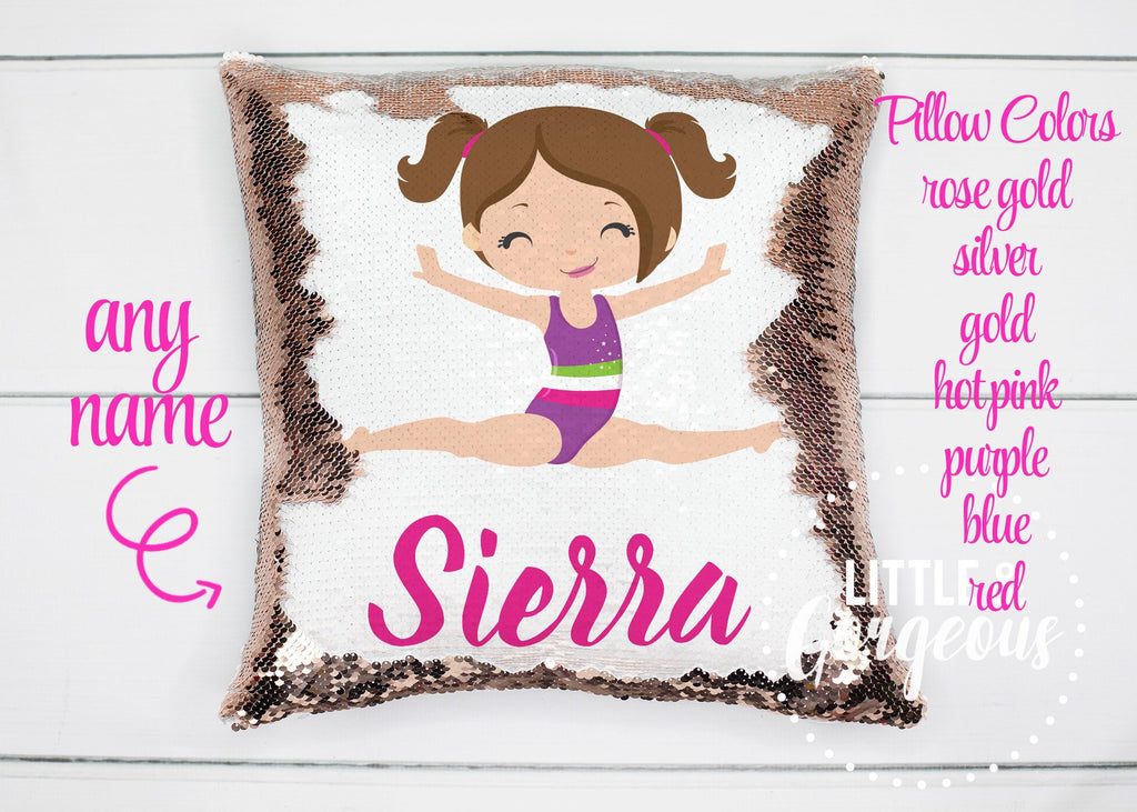 Personalized Pillow Sequin Pillow Gymnastics Girl Christmas Pillow Gift for her Girls Sequin Mermaid Pillow Girls Room Decor Pillow Cover