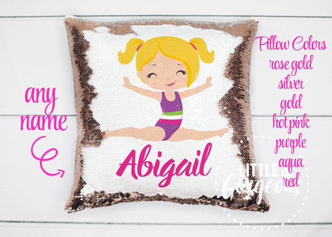 Personalized Sequin Pillow Gymnastics Girl Christmas Pillow Gift for her Girls Sequin Mermaid Pillow Girls Room Decor Pillow Cover