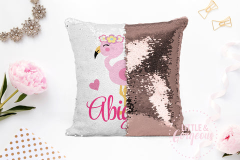 Personalized Pillow Flamingo Sequin Pillow Gift for her Girls Mermaid Pillow Girls Room Decor Pillow Personalized Sequin Pillow Cover