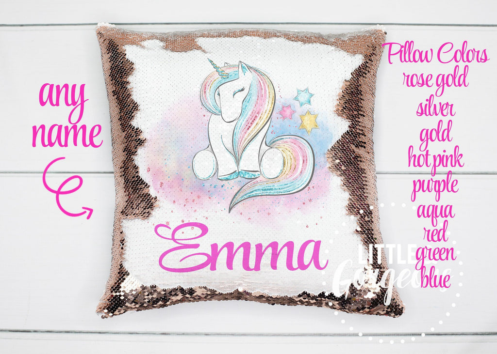 Personalized Sequin Pillow Unicorn Sequin Pillow Gift for her Girls Mermaid Pillow Girls Room Decor Pillow Personalized Sequin Pillow