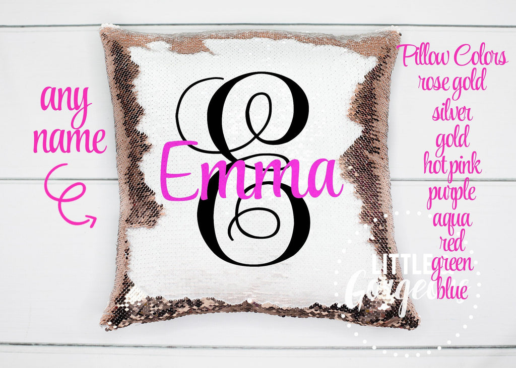 Personalized Sequin Pillow Monogram Sequin Pillow Gift for her Girls Mermaid Pillow Girls Room Decor Pillow Personalized Sequin Pillow