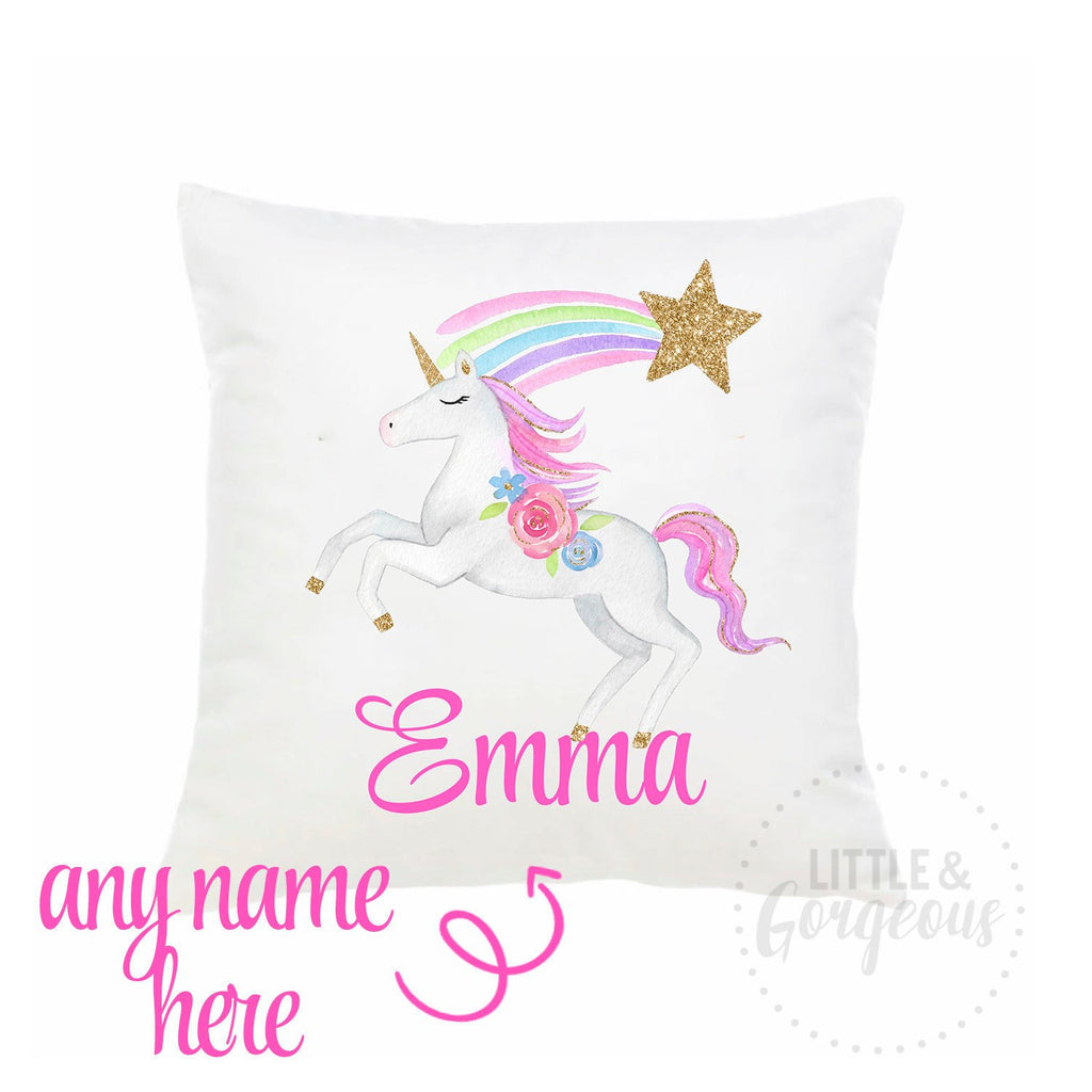 Unicorn Throw Pillow Personalized Unicorn Pillow Girls Nursery Pillow Unicorn Nursery Unicorn Decor Glitter Unicorn Unicorn Birthday