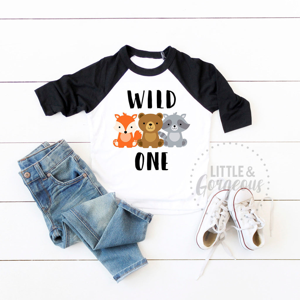 Wild one woodland birthday - Boys woodland first birthday outfit - Boys 1st birthday - Boho animal first birthday