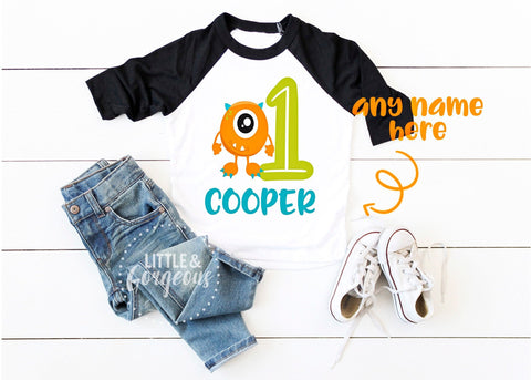 Boys 1st Birthday Shirt Boys First Birthday Monster Raglan Boys Monster Personalized 1st Birthday 1 Birthday Boys Birthday  Birthday Outfit