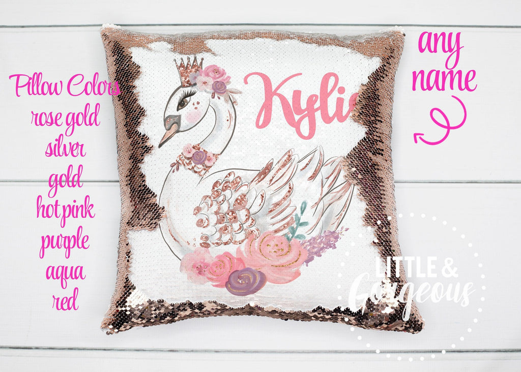 Personalized Swan Sequin Pillow Sequin Pillow Gift for her Girls Mermaid Pillow Swan Birthday Girls Room Decor Unicorn Birthday Pillow Form
