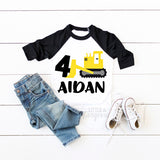 Boys Construction 4th Birthday Construction Shirt Boys Fourth Birthday Construction Raglan Boys Bulldozer Personalized 4th Birthday
