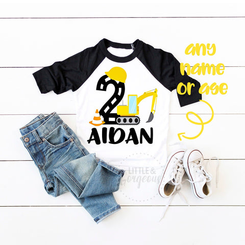 Boys Construction 2nd Birthday Construction Shirt Backhoe Boys Second Birthday Construction Raglan Boys Bulldozer Personalized 2nd Birthday