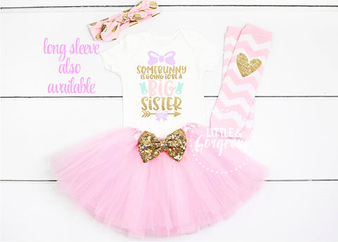 Big Sister Easter Outfit Girl Easter Bunny 1st Easter Girl Outfit Bunny Outfit Pregnancy Announcement Easter Onesie Easter Shirt New Baby