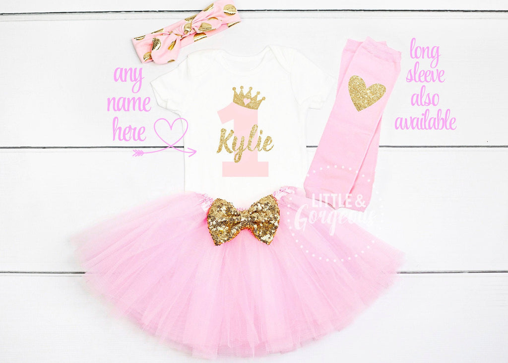 First Birthday Outfit 1st Birthday Outfit Girl Personalized First Birthday Onesie One Birthday Girls Gold Pink Princess Outfit