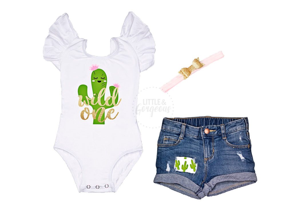 Cactus First Birthday Outfit Girl 1st Birthday Outfit Cactus Wild One Leotard Baby Girl One Birthday 1st Birthday Distressed Jean Shorts