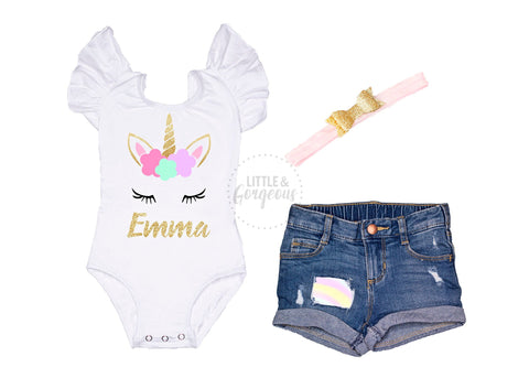Unicorn First Birthday Outfit 1st Birthday Outfit Unicorn Birthday Baby Girl One Birthday 1st Birthday Unicorn Distressed Jean Shorts