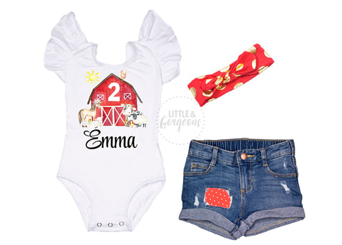 Farm Animal Second Birthday Outfit Girls Farm Birthday Baby Girl 2nd Birthday Outfit Personalized Farm Birthday Girl Distressed Jean Shorts