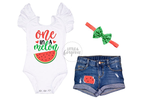 Girls One in a Melon First Birthday Outfit 1st Birthday Outfit Sweet One Leotard Baby Girl One Birthday 1st Birthday Distressed Jean Shorts