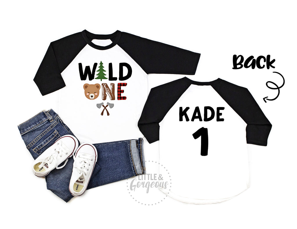 Wild one Woodland First Birthday - Boys woodland first birthday outfit - Boys 1st birthday - First birthday shirt - Boho animal 1st birthday