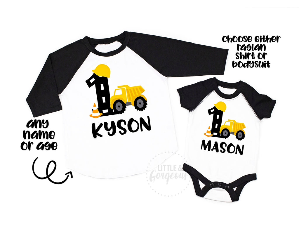 Boys Construction First Birthday Construction Shirt Boys Birthday Construction Raglan Boys Dump Truck Personalized 1st Birthday