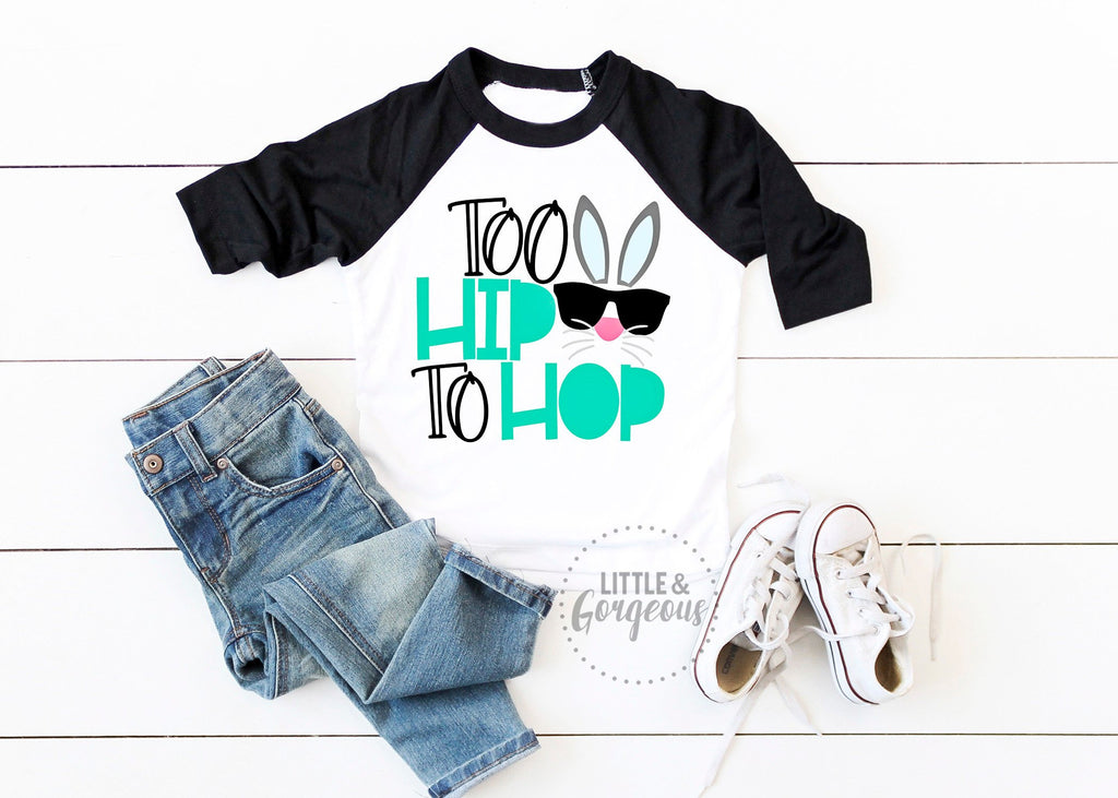 Boys Easter Shirt Boys Easter Outfit Too Hip to Hop Boys 1st Easter Bunny Personalized Easter Raglan Shirt My First Easter Bunny Shirt