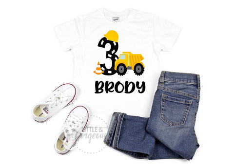Boys 3rd Birthday Construction Shirt Boys Third Birthday Construction Tshirt Boys Dump Truck Personalized 3rd Birthday Truck Birthday
