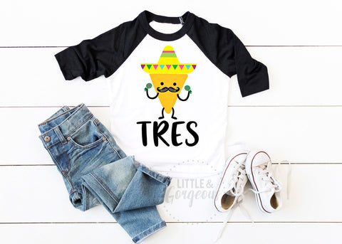 Tres Third Birthday Tres 3rd Birthday Shirt Boys Tres Shirt Boys Taco Three Birthday Taco Birthday Mexican Birthday Shirt Fiesta Third Shirt