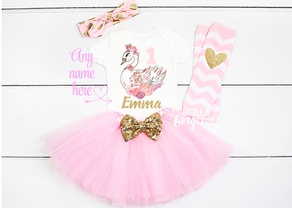 First Birthday Outfit Girl Swan 1st Birthday Girl Outfit Personalized First Birthday Outfit 1st Birthday Girl Nutcracker Cake Smash Outfit