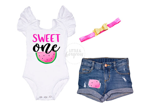 First Birthday Outfit Girl 1st Birthday Outfit Sweet One Leotard One in a Melon Baby Girl One Birthday 1st Birthday Distressed Jean Shorts
