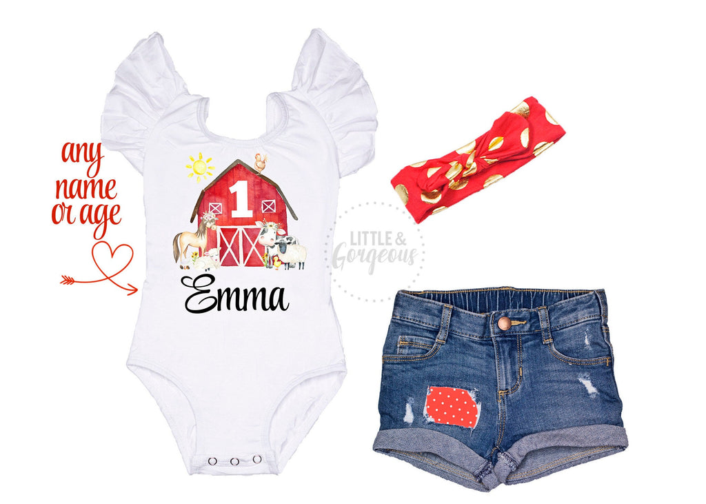 Farm Animal Birthday Outfit Girls Farm Birthday Shirt Baby Girl 1st Birthday Outfit Personalized Farm Birthday Girl Distressed Jean Shorts