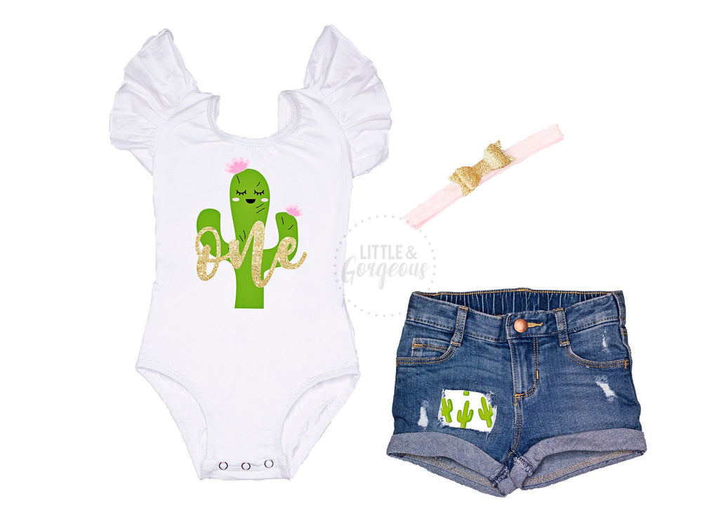 Cactus First Birthday Outfit Girl 1st Birthday Outfit Cactus One Leotard Baby Girl One Birthday 1st Birthday Distressed Jean Shorts