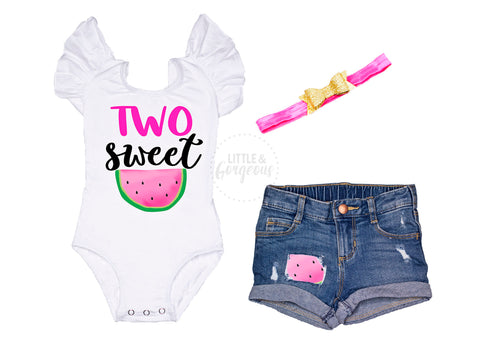 Two Sweet Second Birthday Outfit 2nd Birthday Outfit Watermelon Birthday Leotard Baby Girl 2nd Birthday Two Birthday Rolled Hem Jean Shorts