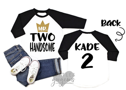 Boys Second Birthday Shirt Boys 2nd Birthday Shirt Mr Two Handsome 2nd Birthday Raglan Boys Birthday Shirt Wild Things birthday shirt