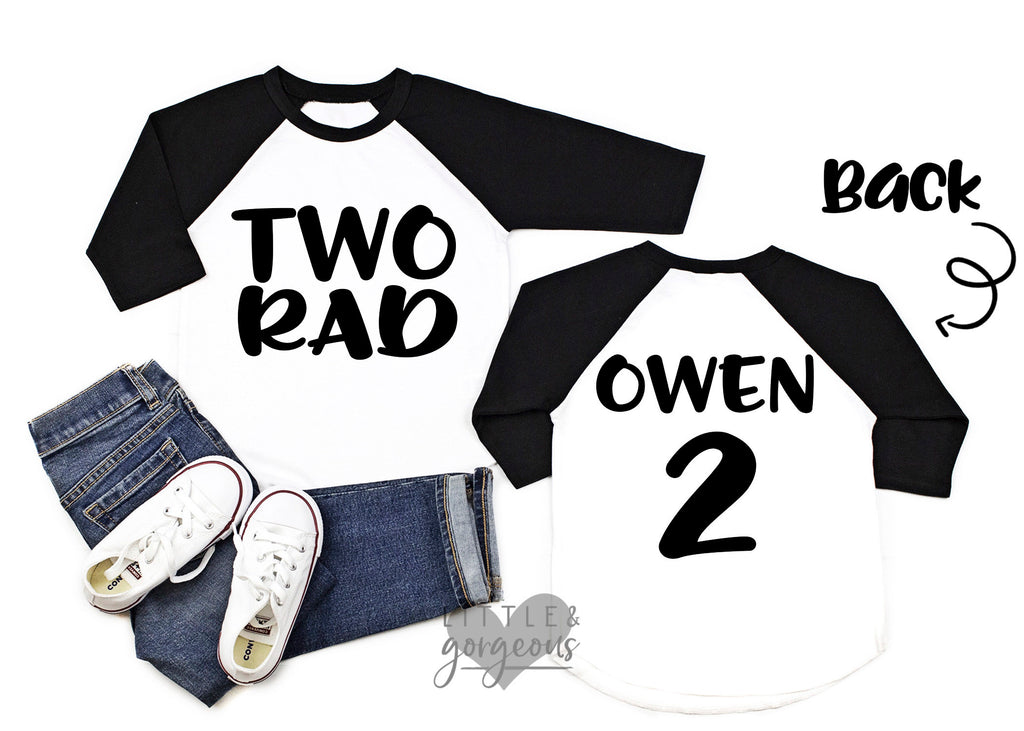 Boys Two Rad Birthday Shirt Boys Second Birthday Boys 2nd Birthday Shirt 2nd Birthday Raglan Boys Birthday Shirt Two birthday shirt