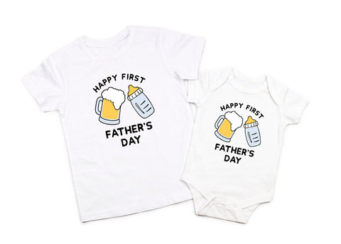 First Fathers Day Daddy Baby Boy Matching Shirt Bodysuit Gift for Dad 1st Fathers Day Daddy and Me Daddy Beer and Milk Drinking Buddy