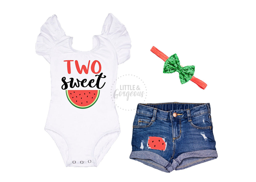 Girls Second Birthday Outfit Two Sweet 2nd Birthday Outfit Watermelon Birthday Baby Girl 2nd Birthday Two Birthday Rolled Hem Jean Shorts