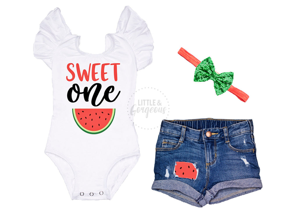 Girls First Birthday Outfit 1st Birthday Outfit Sweet One Leotard One in a Melon Baby Girl One Birthday 1st Birthday Distressed Jean Shorts