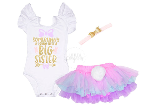 Big Sister Easter Outfit Girl Easter Bunny 1st Easter Girl Outfit Bunny Outfit Pregnancy Announcement Easter Shirt New Baby