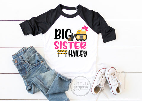 Construction Birthday Shirt Little Sister Construction Shirt Girls Construction Raglan Boys Bulldozer Dump Truck Big Sister Matching Shirt