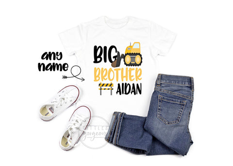 Big Brother Shirt Big Brother Tshirt Personalized Construction Truck Shirt Big Brother Announcement Big Brother Gift Baby Announcement