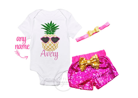 Girls First Birthday Luau Pineapple Outfit Summer Outfit Personalized Pineapple Outfit Birthday Outfit Tank top Sparkle Shorts